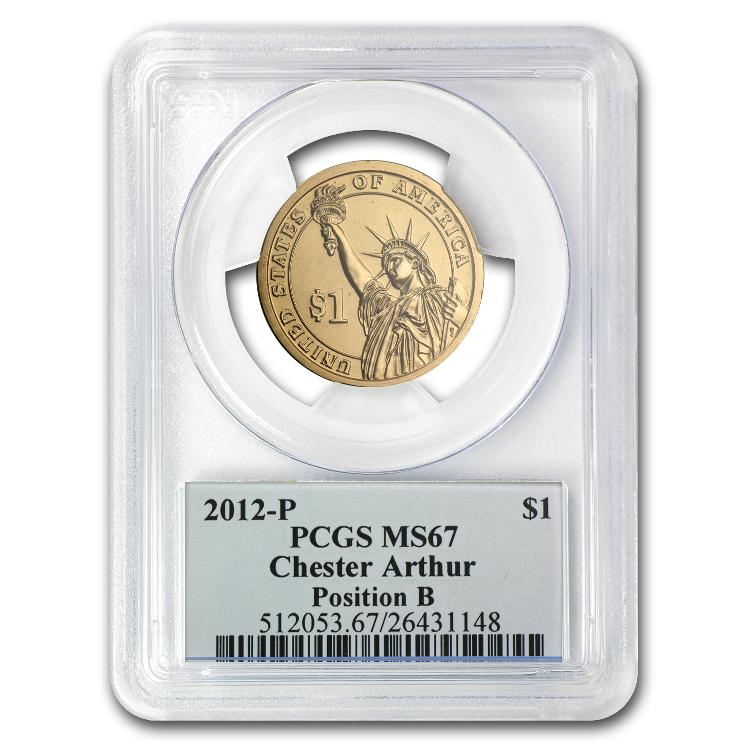 2012-P B Position Chester Arthur Presidential Dollar MS-67 PCGS